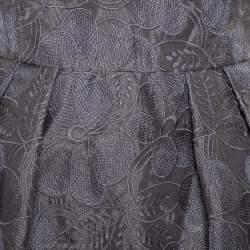 فستان أرماني كاليزوني أورغانزا طيات مطرز مورد رصاصي مقاس وسط (ميديوم)
