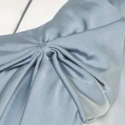 Armani Collezioni Grey Silk Draped Bow Detail Faux Wrap Sleeveless Dress XL