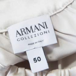 Armani Collezioni Grey Silk Mother of Pearl Button Detail Sleeveless Top L