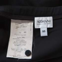 Armani Collezioni Black Silk Ruffle Detail Skirt XL