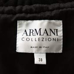Armani Collezioni Black Wool Ruffle Collar Short Coat S