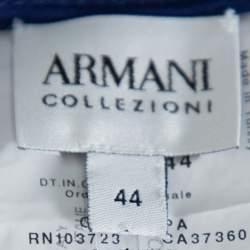 بنطلون أرماني كوليزوني أرجل واسعة كريب أزرق داكن مقاس وسط (ميديوم)
