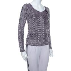 Armani Collezioni Purple Wave Pattern Knit button Detail Top S