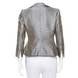 Armani Collezioni Metallic Plaided Silk Asymmetric Cropped Blazer M