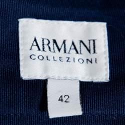 Armani Collezioni Navy Blue Crepe Pencil Skirt M
