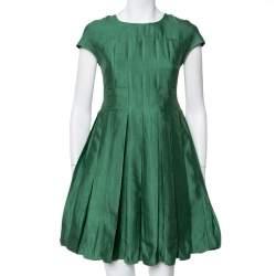 Armani Collezioni Green Cotton Silk Box Pleated Short Dress S