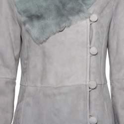 معطف طويل أرماني كوليزوني مبطن قصات فرو سويدي رصاصي مقاس وسط (ميديوم)