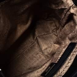 Armani Collezioni Black Signature Canvas and Leather Satchel