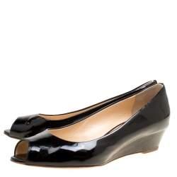 Giuseppe Zanotti Black Patent Leather Wedge Heel Peep Toe Pumps Size 38.