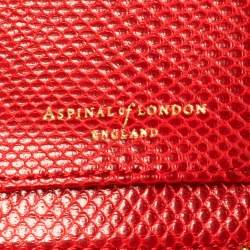 Aspinal Of London Red Lizard Skin Zip Travel Organizer