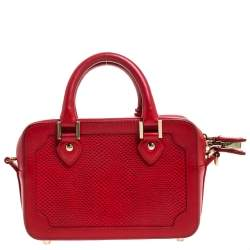 Aspinal of London Red Lizard Embossed Leather Mini Sofia Shoulder Bag