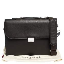Aspinal Of London Dark Brown Leather Combination Lock Briefcase