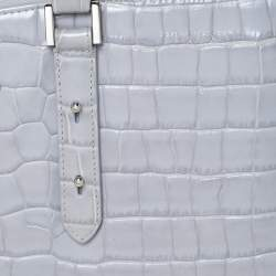 Aspinal Of London Grey Croc Embossed Leather Brook Street Tote