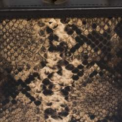 Aspinal of London Brown Leather and Python Effect Mini Trunk Top Handle Bag