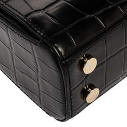 Aspinal of London Black Croc Embossed Leather Small Mayfair Top Handle Bag