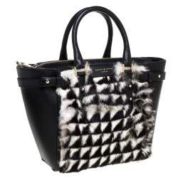 Aspinal Of London Black/White Geometric Rabbit Fur and Leather Mini Marylebone Tote