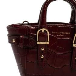 Aspinal Of London Red Croc Embossed Leather Marylebone Tote