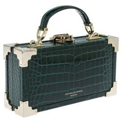 Aspinal of London Green Croc Emboosed Patent Leather Trinket Top Handle Bag