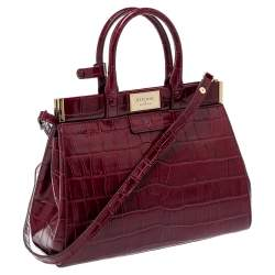 Aspinal Of London Burgundy Croc Embossed Leather Small Florence Snap Tote
