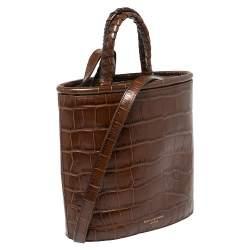 Aspinal of London Brown Croc Bucket Bag