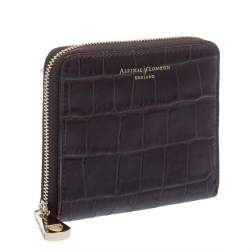 Aspinal of London Dark Brown Croc Embossed Leather Zip Around Compact Wallet