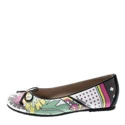 Baldinini Trend Multicolor Printed Leather Bow Ballet Flats Size 36
