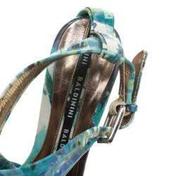 Baldinini Green Floral Print Leather Criss Cross Sandals Size 38