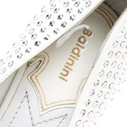 Baldinini White Patent Leather Crystal Embellished Pointed Toe Pumps Size 38