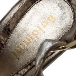 Baldinini Metallic Grey Strappy Leather Sandals Size 36
