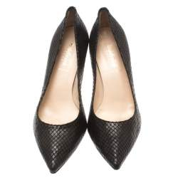 Baldinini Black Python Embossed Leather Pointed Toe Pumps Size 40