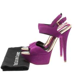 Baldinini Purple Suede Open Toe Ankle Strap Platform Sandals Size 36