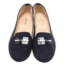 Baldinini Navy Blue Nubuck Smoking Slippers Size 41