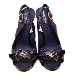 Baldinini Blue Leather Bow Wedge Ankle Strap Sandals Size 37