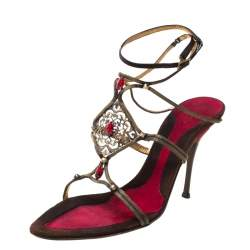Baldinini Metallic Bronze Metal/Satin Embellished Strappy Sandals Size 40