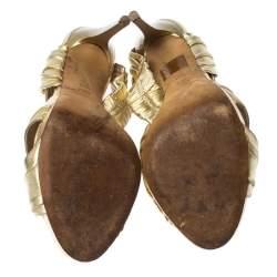 Baldinini Metallic Gold Leather Draped Peep Toe Sandals Size 38