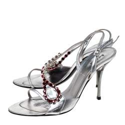 Baldinini Metallic Silver Leather Crystal Embellised Ankle Sandals Size 37