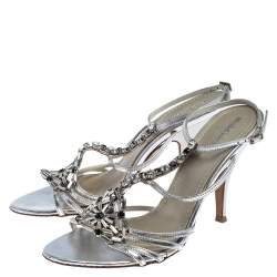 Baldinini Metallic Silver Leather Crystal Embellised Ankle Sandals Size 39