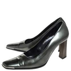 Baldinini Green Leather Slanted Toe Block Heel Pumps Size 40.5