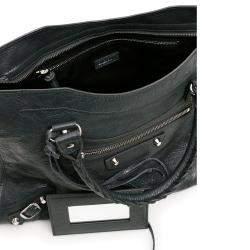 Balenciaga Black Leather Motocross Classic City Bag
