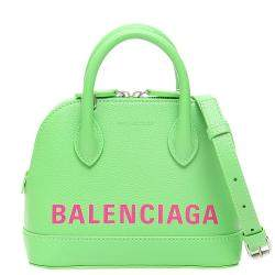 Balenciaga Lime Green Leather Ville XXS Satchel Bag