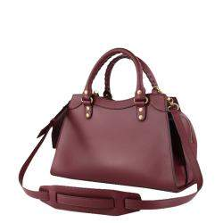 Balenciaga Burgundy Leather Neo Classic Small Top Handle Bag