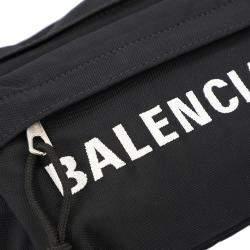 Balenciaga Black Nylon Wheel Belt Pack Bag