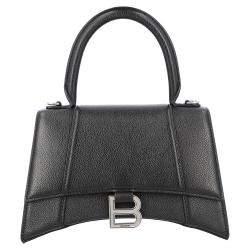 حقيبة بالنسياغا أور غلاس جلد أسود صغيرة بيد علوية