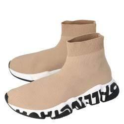 Balenciaga Beige Knit Graffiti Sole Speed Sneakers Size 37