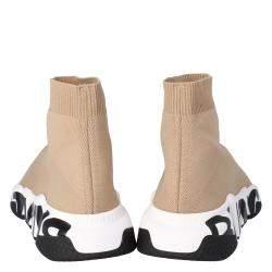 Balenciaga Beige Knit Graffiti Sole Speed Sneakers Size 38