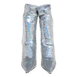 Balenciaga Metallic Silver Sequin Knife Mid Length Boots Size 36