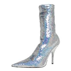 Balenciaga Metallic Silver Sequin Knife Mid Length Boots Size 36
