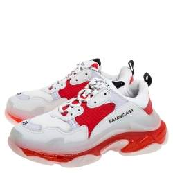 Balenciaga White/Red Leather And Mesh Triple S Sneakers Size 39
