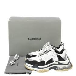 Balenciaga White/Black Leather and Mesh Triple S Platform Sneakers Size 42