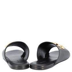 Balenciaga Black Leather Oval BB Mule Sandals Sneakers Size EU 40